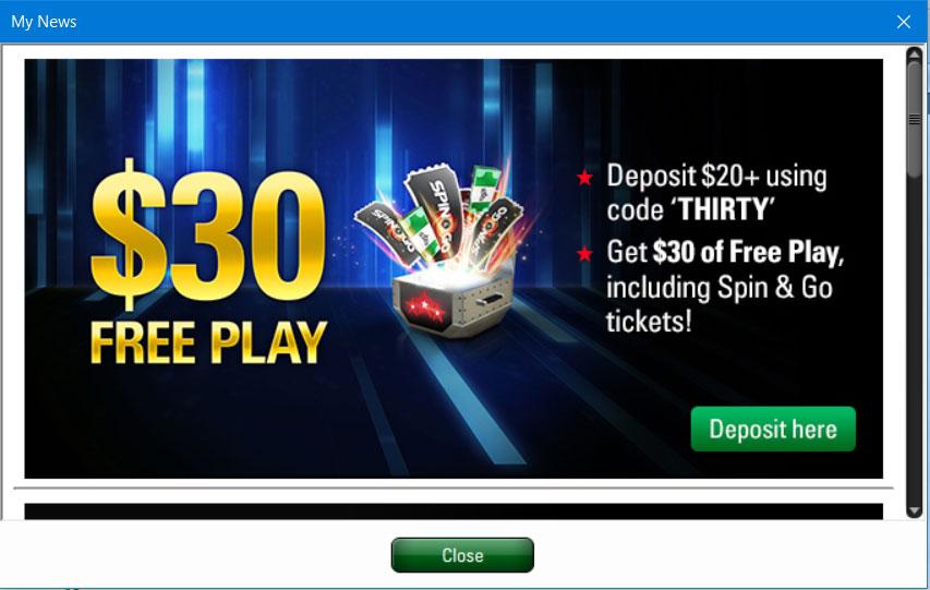 Бонус 600$ за первый депозит с промокодом THIRTY от рума ПокерСтарс