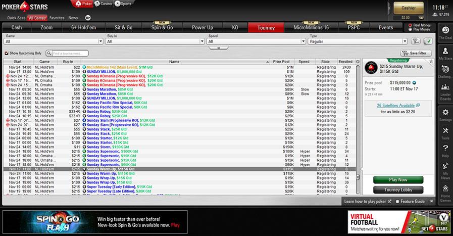Еженедельные турниры ПокерСтарс Sunday