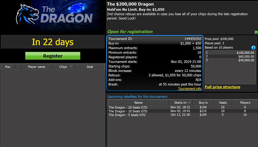 MTT-турнир The Dragon в руме 888покер